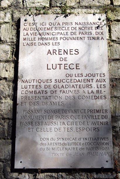 Arènes de Lutèce plaque blog
