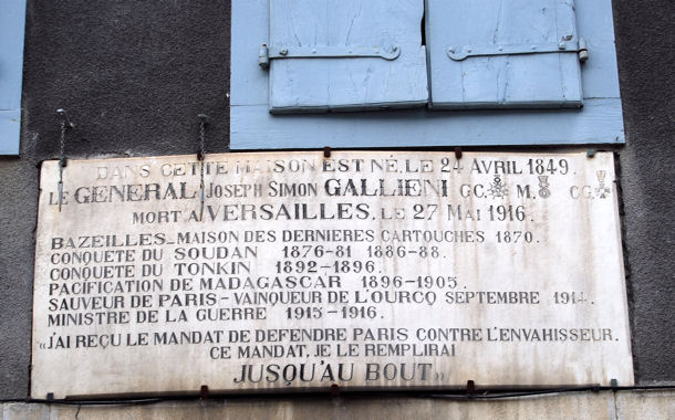 Saint-Béat Gallieni plaque blog
