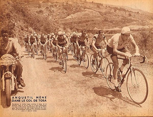 Tour 1957  Barcelone-Ax Anquetil mène dans col de Tosas blog