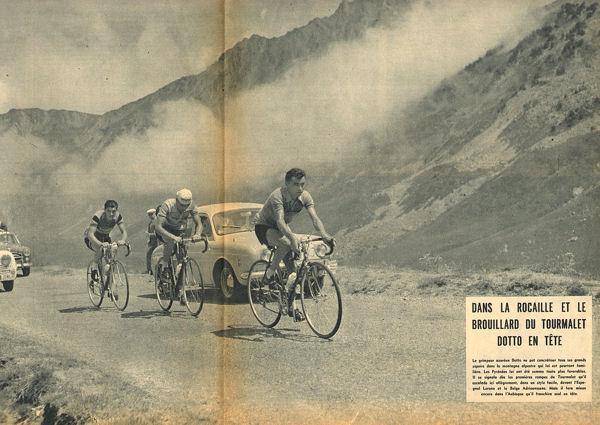 Tour 1957 St-Gaudens-Pau Dotto en tete dans tourmalet blog