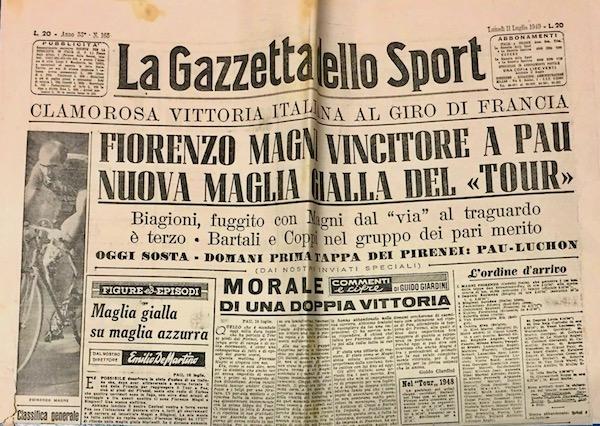 Gazzetta-Dello-Sport-1949-Fiorenzo-Magni-Maglia-Gialla