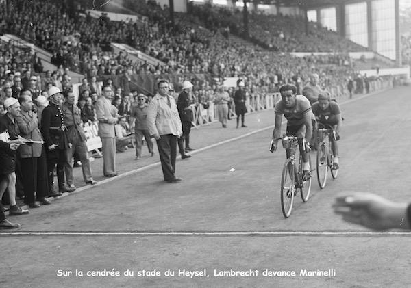Tour_1949Brussel._Bruxelles sprint,_Roger_Lambrecht_en_Jacques_Marinelli jpg