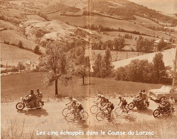 Toulouse-Millau 5 échappés sur  Larzac