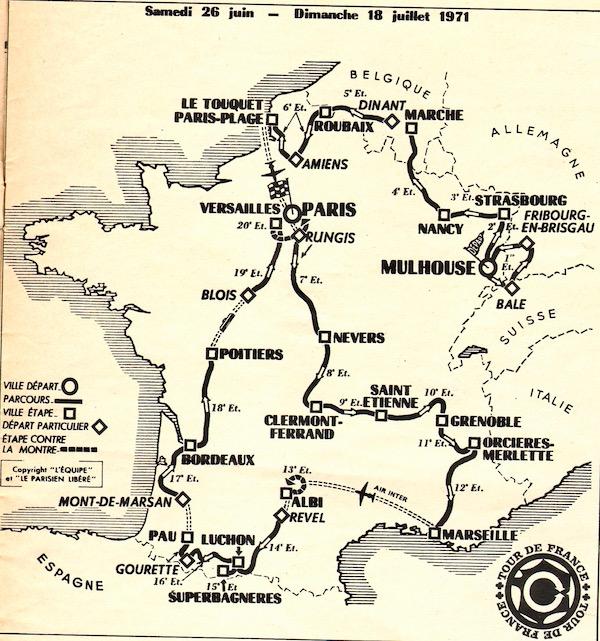 SPORT N° 20 du 23 juin 1971 05 Carte du Tour
